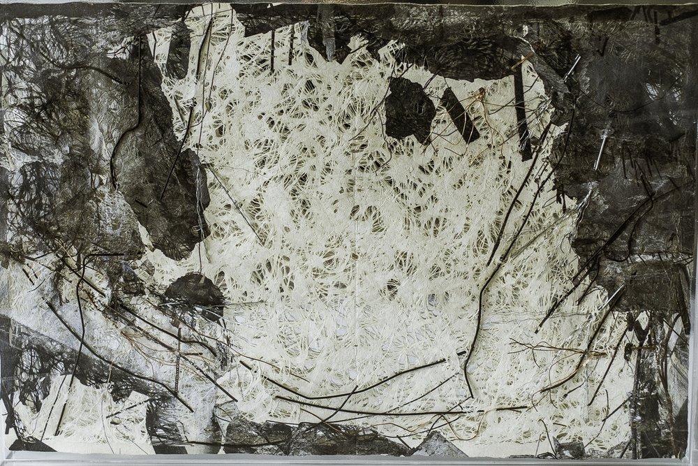 S.T (2018) - 42 x 62 x 4 cm - Acrílico, impresión sobre papel hecho a mano y alambre / Plexiglass, print on handmade paper and  copper wire