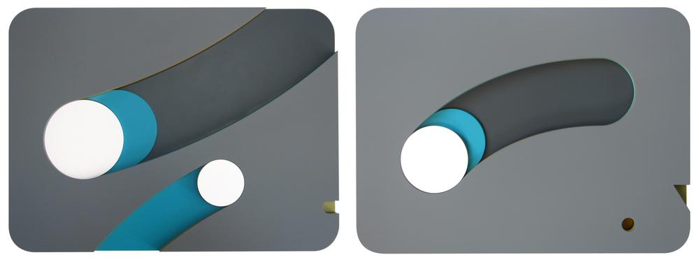 Punto y Contrapunto (2013) - 37 x 50 c/u) - Díptico: Objeto de pared multicapa, madera y laca automotriz / Diptych: Multilayer wall object, wood and automotive lacquer