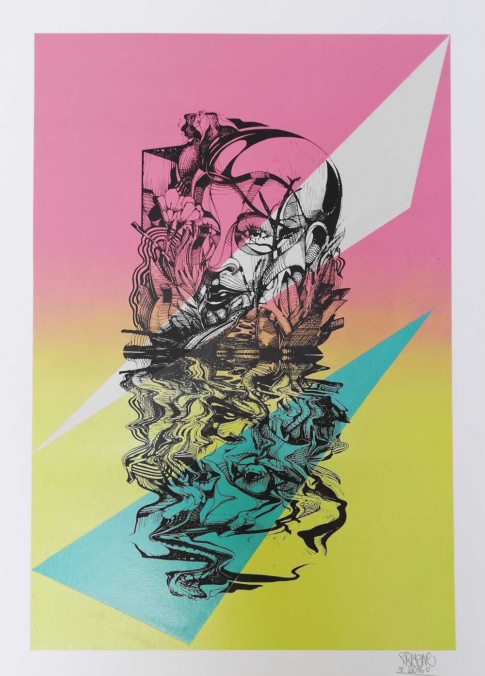 RF LKT #2 (2018) - 75 x 54 cm - Serigrafía intervenida con aerosol Prueba de artista