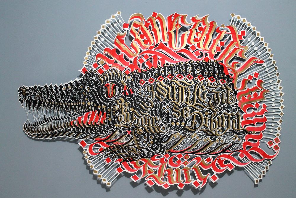 Caimán Con cautela y sutileza se dibuja (2018) - 100 x 160 cm - Dibujo y corte  a mano sobre papel / Drawing and hand cut on paper