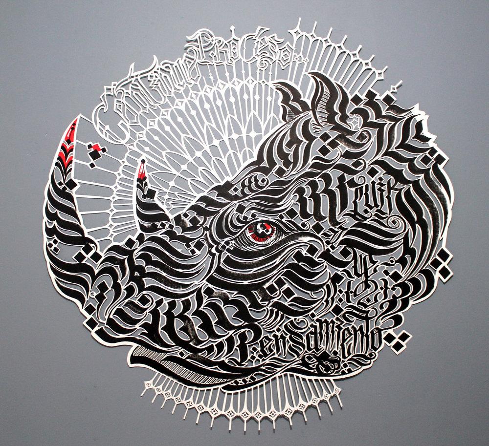 Rino A fluir en pensamiento (2017) - 135 x 135 - Dibujo y corte  a mano sobre papel / drawing and hand cut on paper