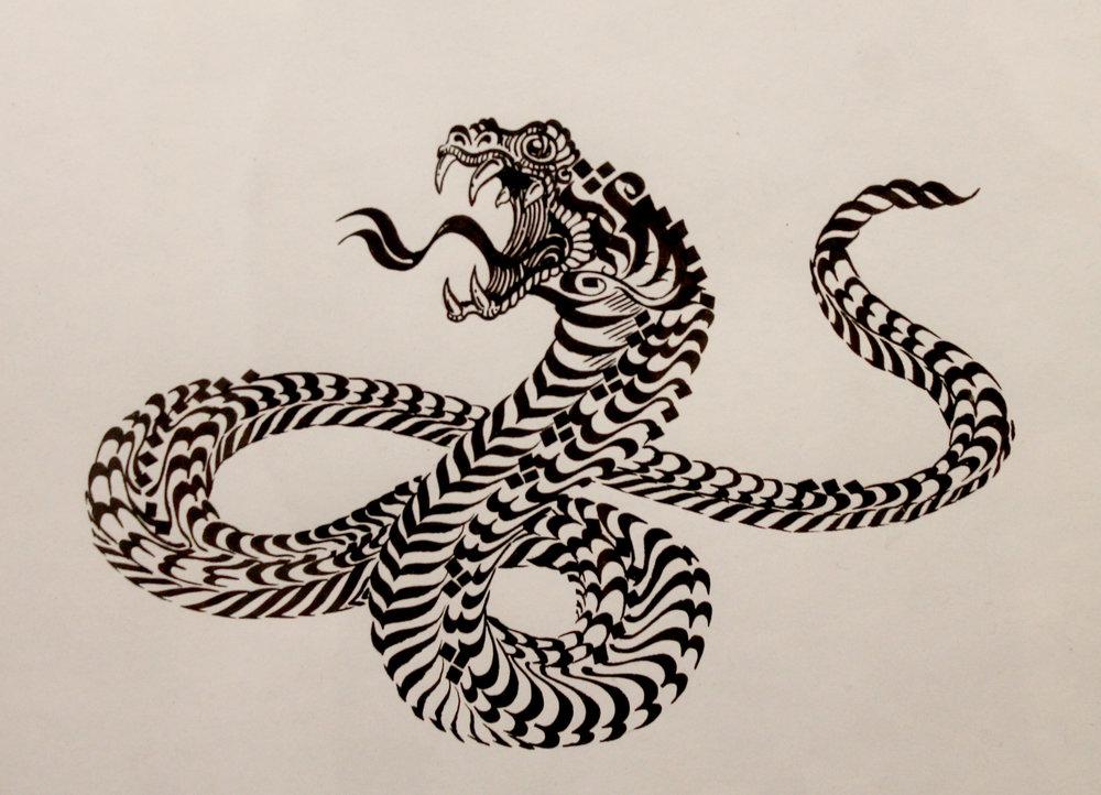 Culebreo Fluir (2018) - 29 x 40 cm - Dibujo en tinta / ink drawing
