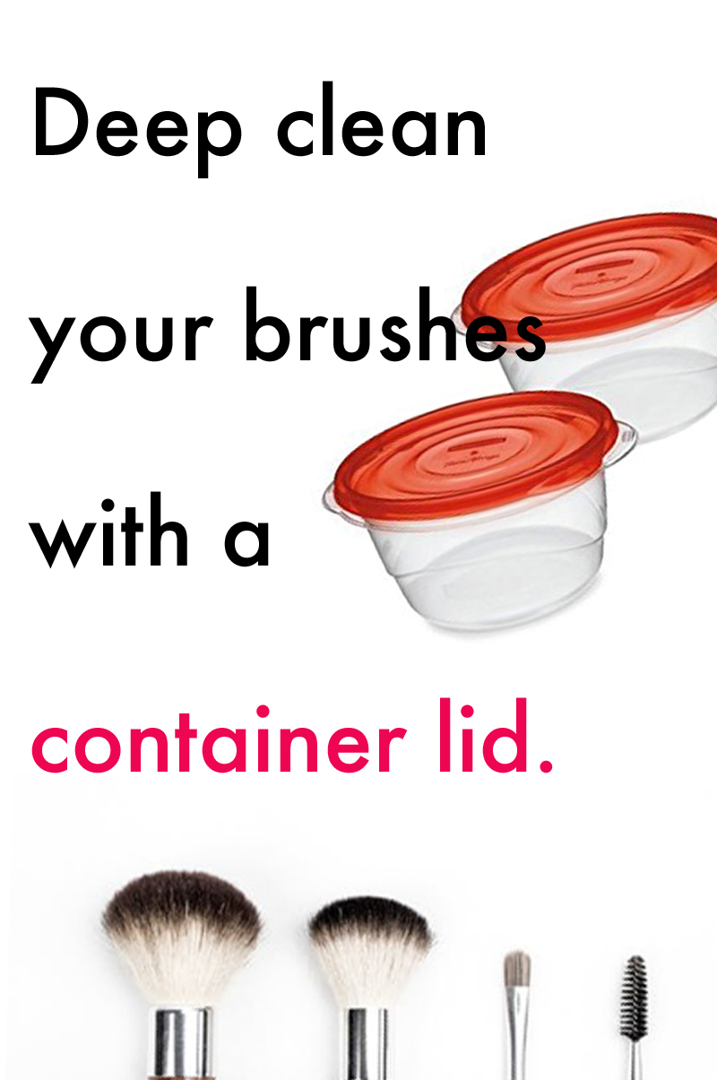 clean makeup brushes with a container lid