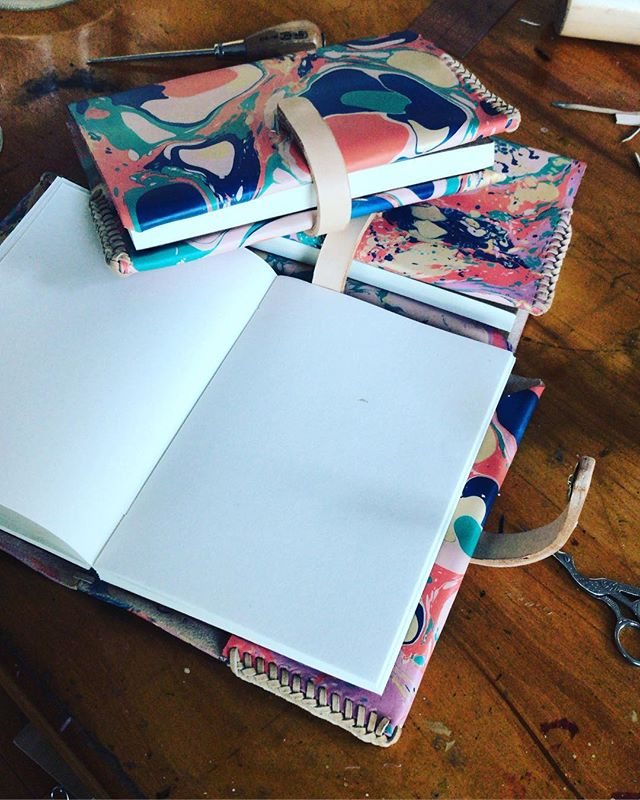 A blank page for the new year | Join me on January 27th @makersmess from 2-6pm for a Marbled Leather Journal workshop!  In this workshop, I will guide you through the process of marbling and constructing a refillable leather journal cover, perfect for recording your thoughts, plans, dreams, notes, and 2019 resolutions!  Link to sign up in bio. #makersmess #havethetemerity #workshoplosangeles #thingstodoinla #marbledleather
