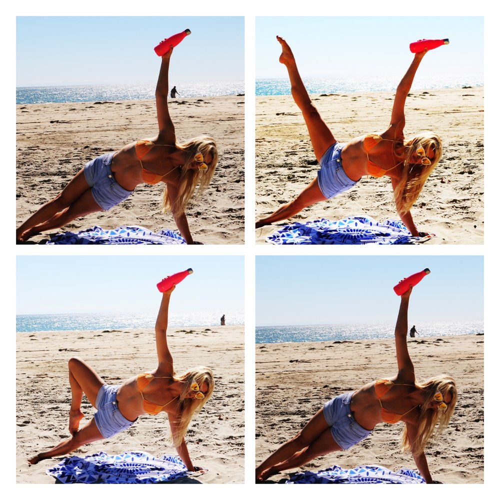 Legs develop to really work the back of legs and glutes. Balancing Side Plank adds a bonus for the abs.