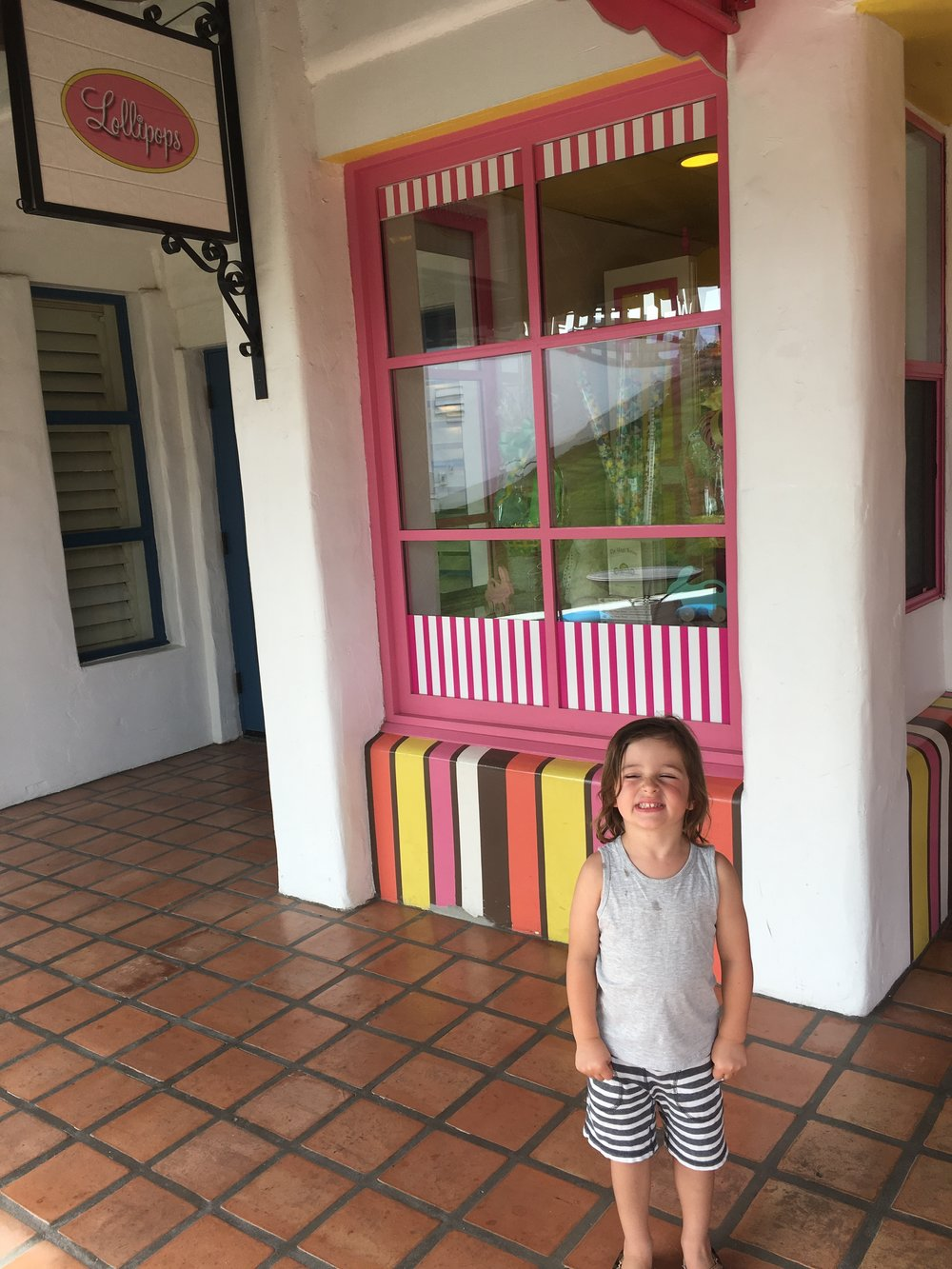 We found a sweet store! Hudson was excited.