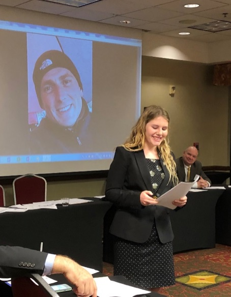 Rivers appreciating her Uncle – Kenai Police Dept. Lt. Ben Langham (Session #268) for his recommendation and support. Sean McGee (Session #202) in the background serves on the YLP Selection Committee and takes over as Chair in 2019.