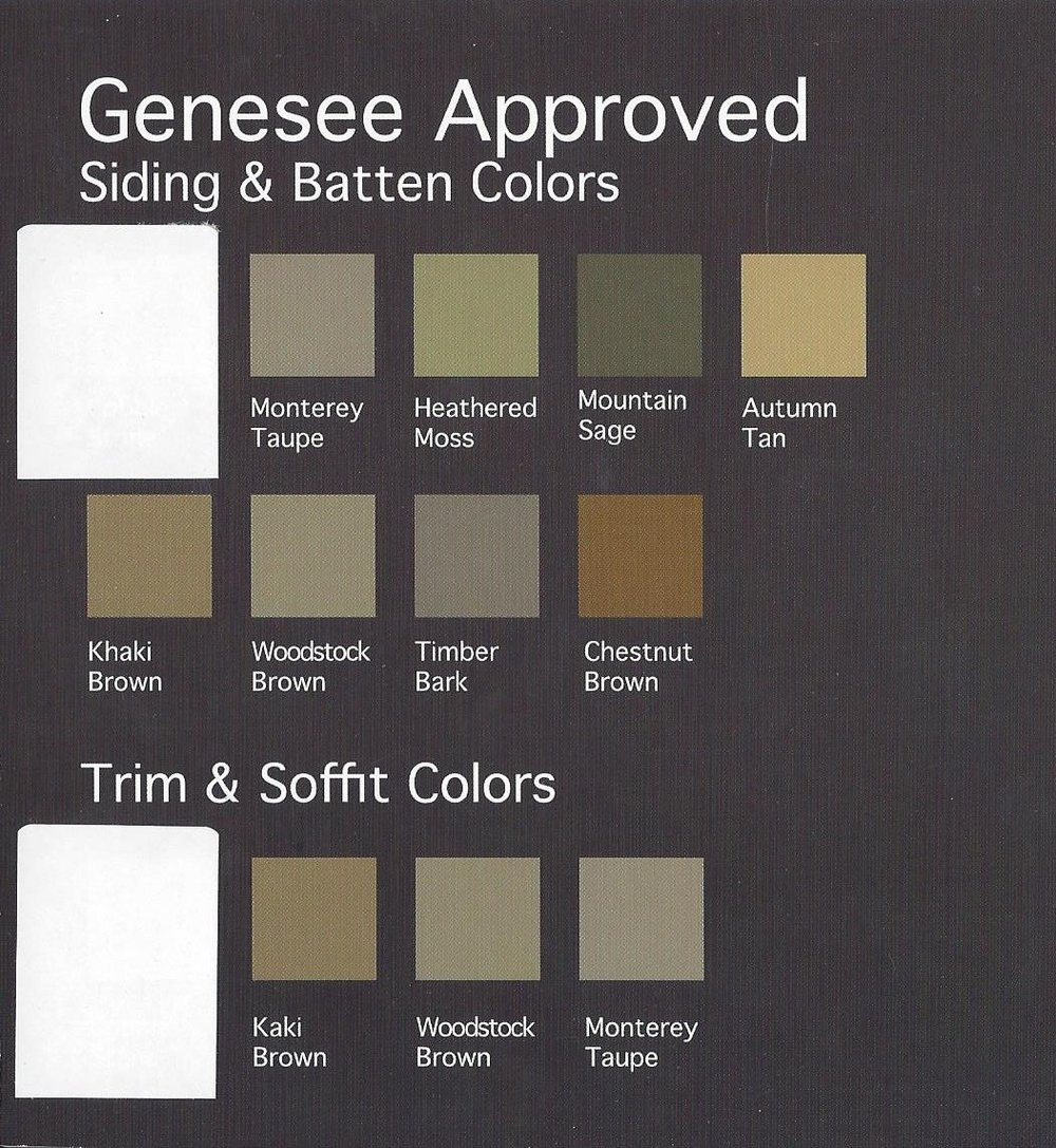* please see above for approved siding, batten, trim, & soffit colors. THESE ARE NOT REGULAR PAINT COLORS, SEE TO THE RIGHT.