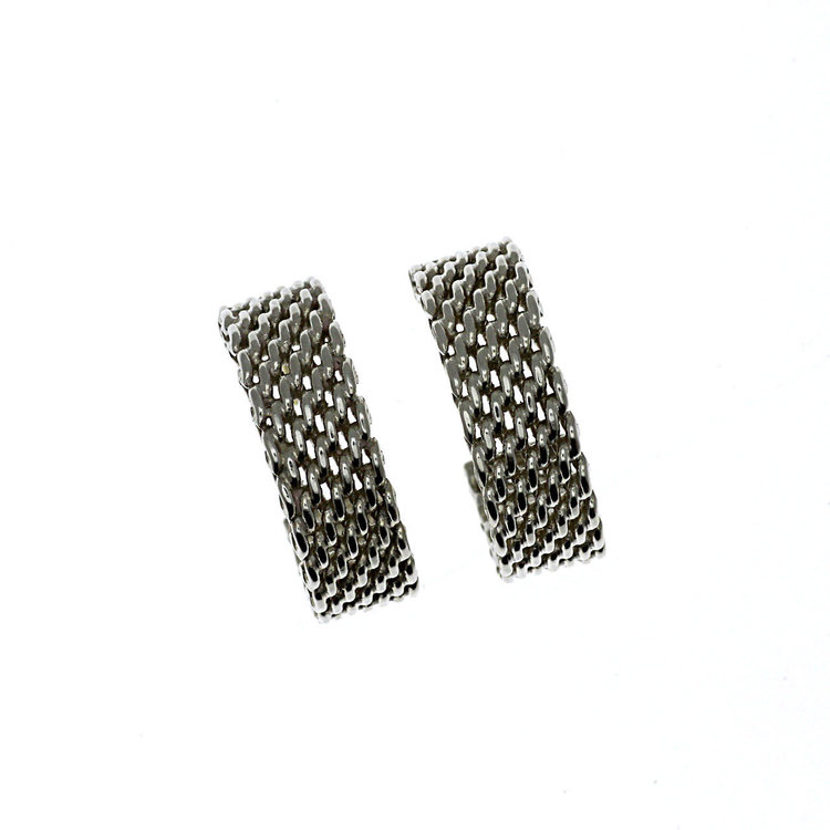 132ccf968 Auth Tiffany & Co. Silver Small Hoop Mesh Earrings Somerset 3/4