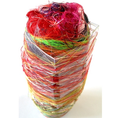 Red Swirl. Paint Skin. Found Plastic. Recycled Threads - 2014