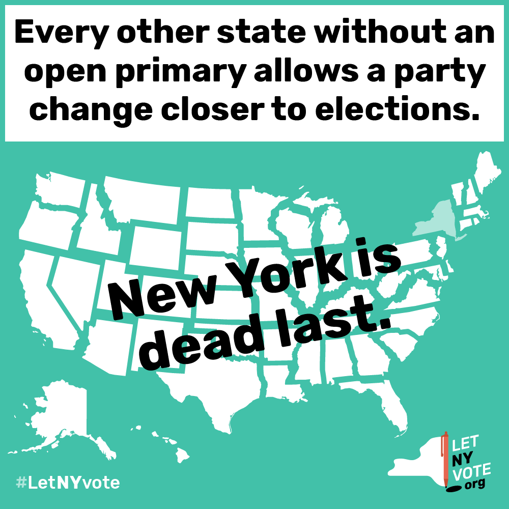 New Yorkers want to have enough information about candidates before choosing a party.   • 49 states have open primaries or allow a change of party close to Election Day.  • In 2016, 3 million New Yorkers couldn't cast a presidential primary vote because they did not change their party affiliation in time.  • 43 percent of New Yorkers identify as independent voters. This means they do not get to vote in the primaries.   • The change of party deadline must be shortened to allow people to make an informed decision when they vote.   •  Flexibility to Change Party Affiliation 1-sheet.