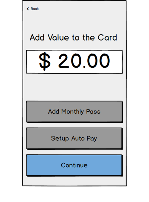 Adding Value   It wasn't clear to users why were being asked to add to value to the card at this stage and they didn't always understand how the monthly pass and auto pay options were related to card value.