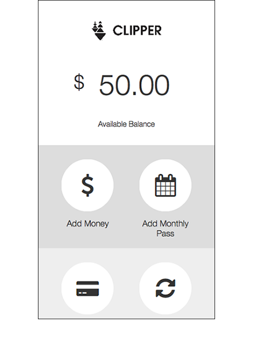 Home Screen   The revised home screen with options for adding money, monthly passes, payment type and recurring payments.