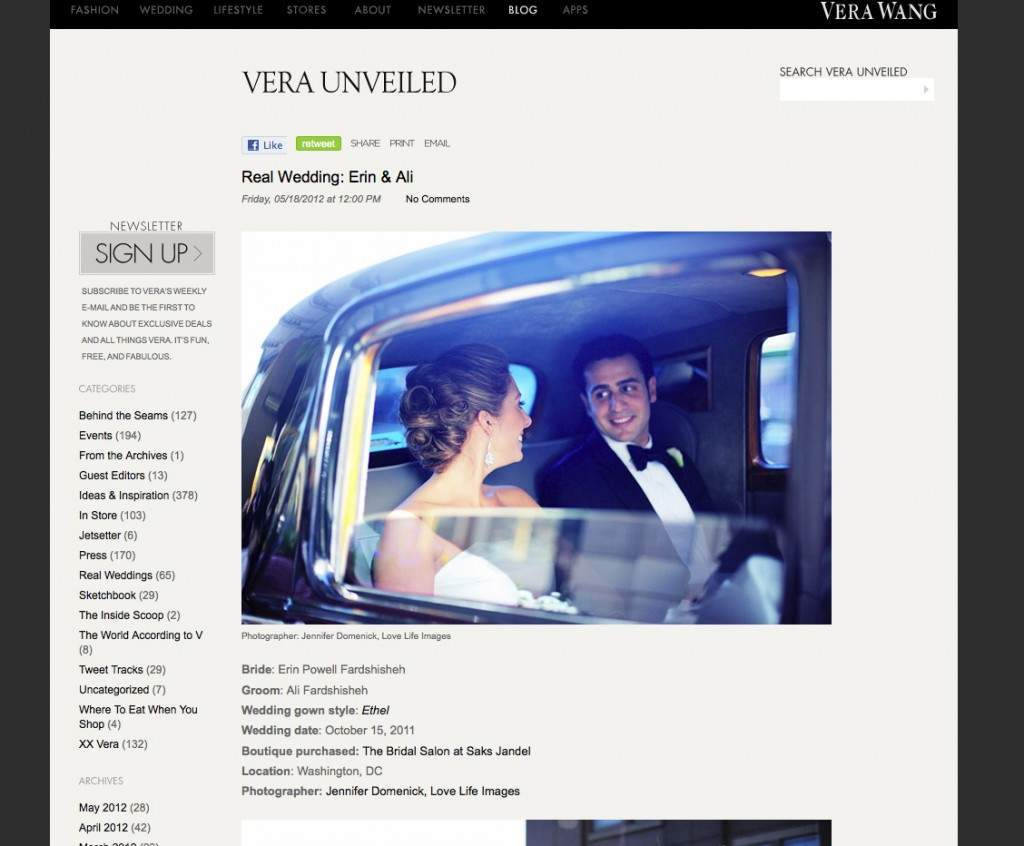 Vera Wang Blog Feature