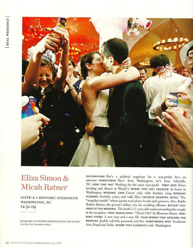 Washingtonian Magazine Bride and Groom feature