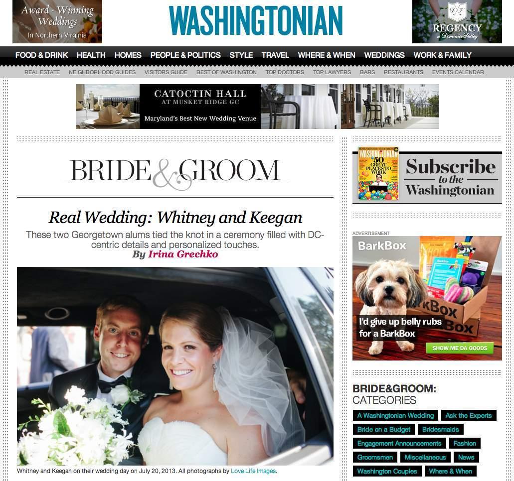 Washingtonian Bride & Groom blog feature