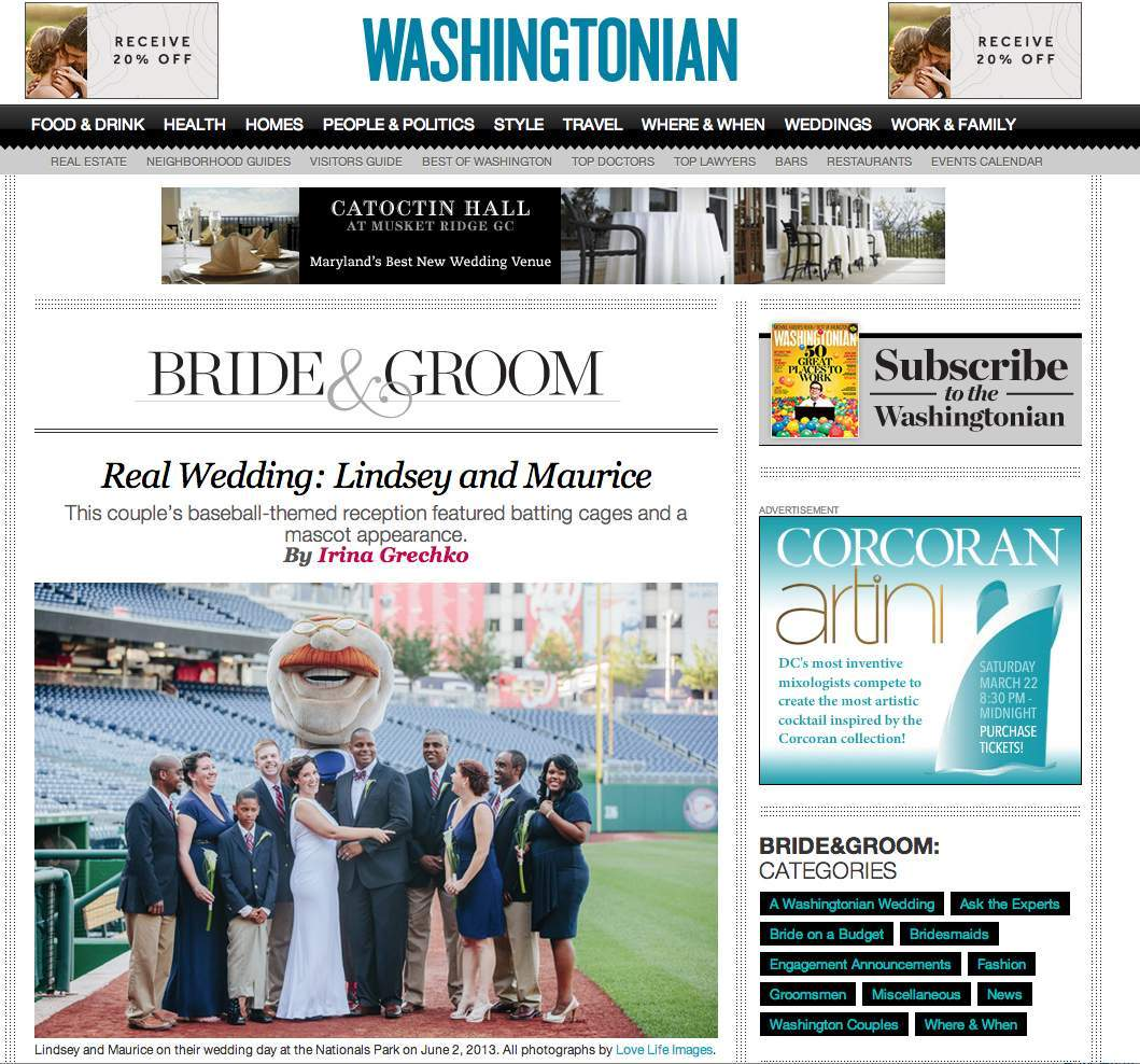 Nationals Wedding feature Washingtonian Bride and Groom