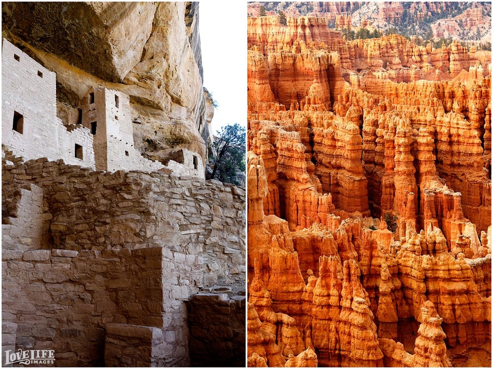Pueblo Cliff Dwellings at Mesa Verde National Park and Bryce Canyon.
