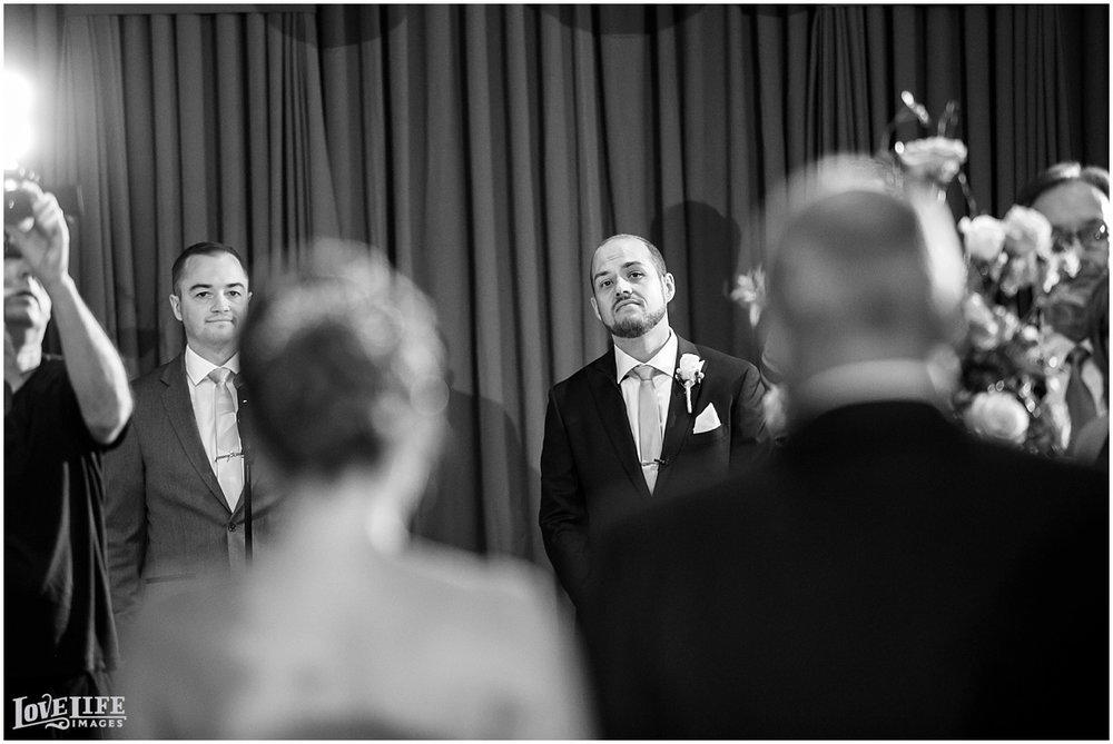 Clarendon Ballroom Wedding groom at altar.jpg