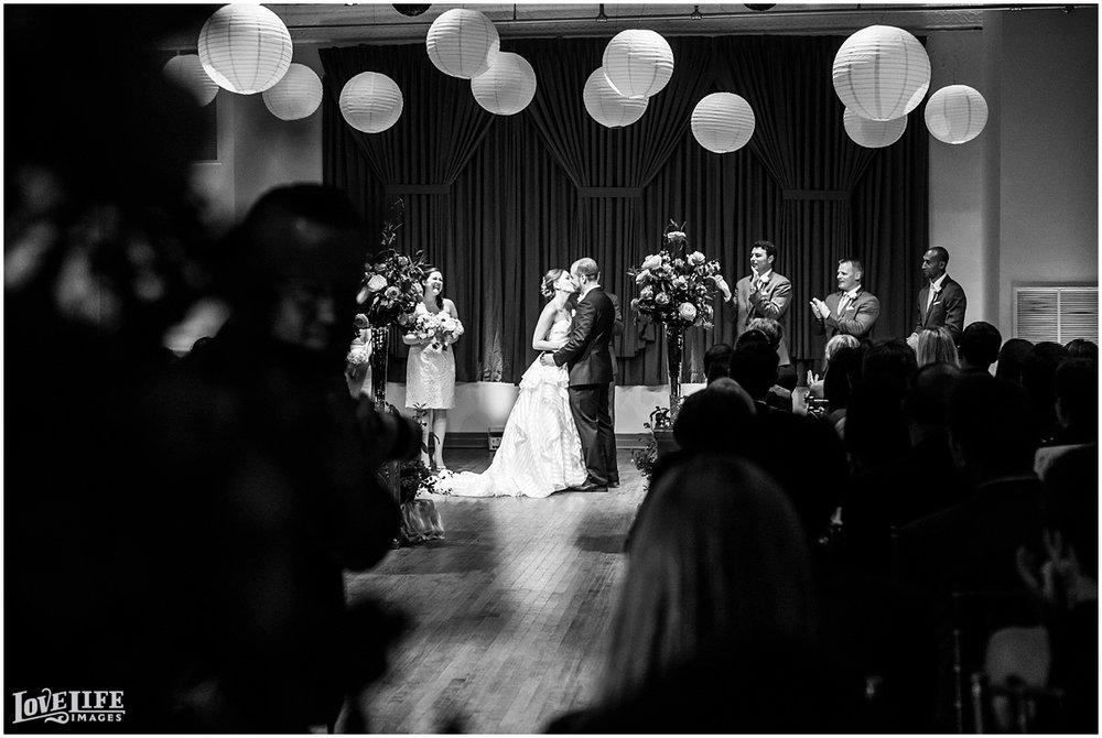 Clarendon Ballroom Wedding first kiss.jpg