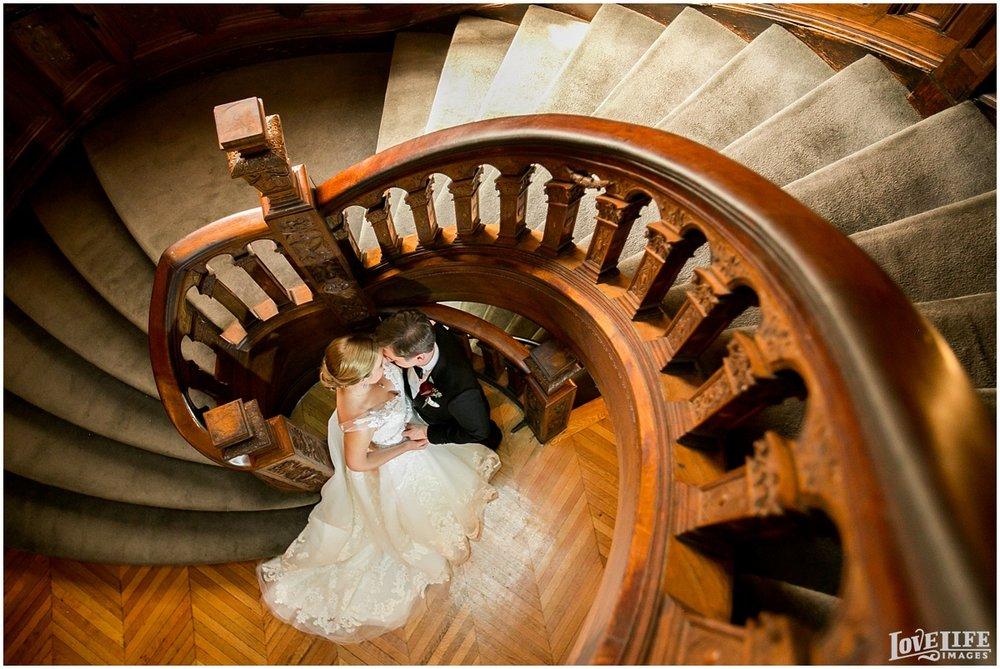 Engineer's Club Wedding bridal portrait on staircase.jpg