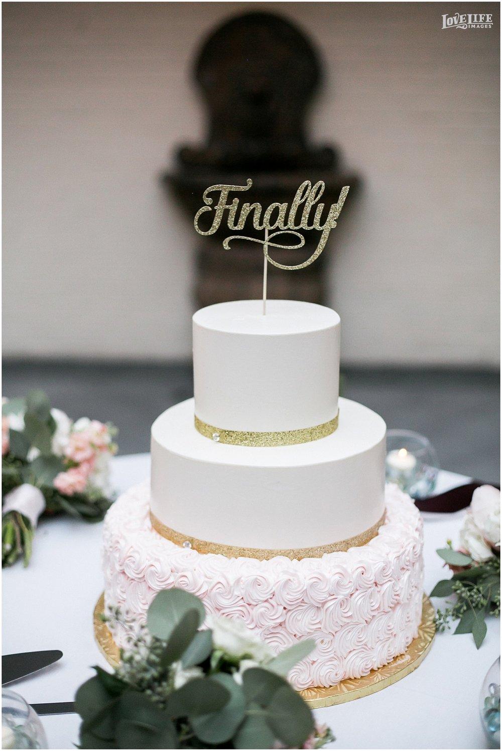 Engineer's Club Wedding cake with gold glitter.jpg