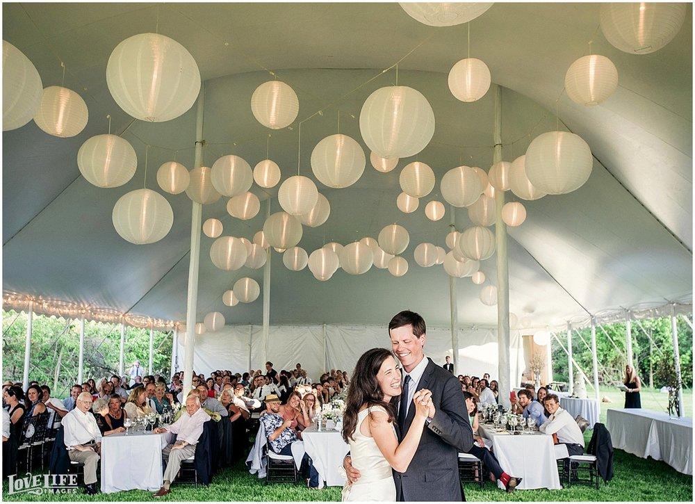 Washington DC and Baltimore Wedding Photographer Eastern Shore Outdoor Reception Canopy First Dance.JPG