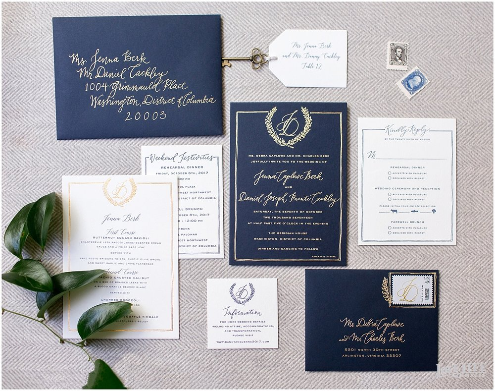 Meridian House Wedding navy and gold wedding invitation.JPG