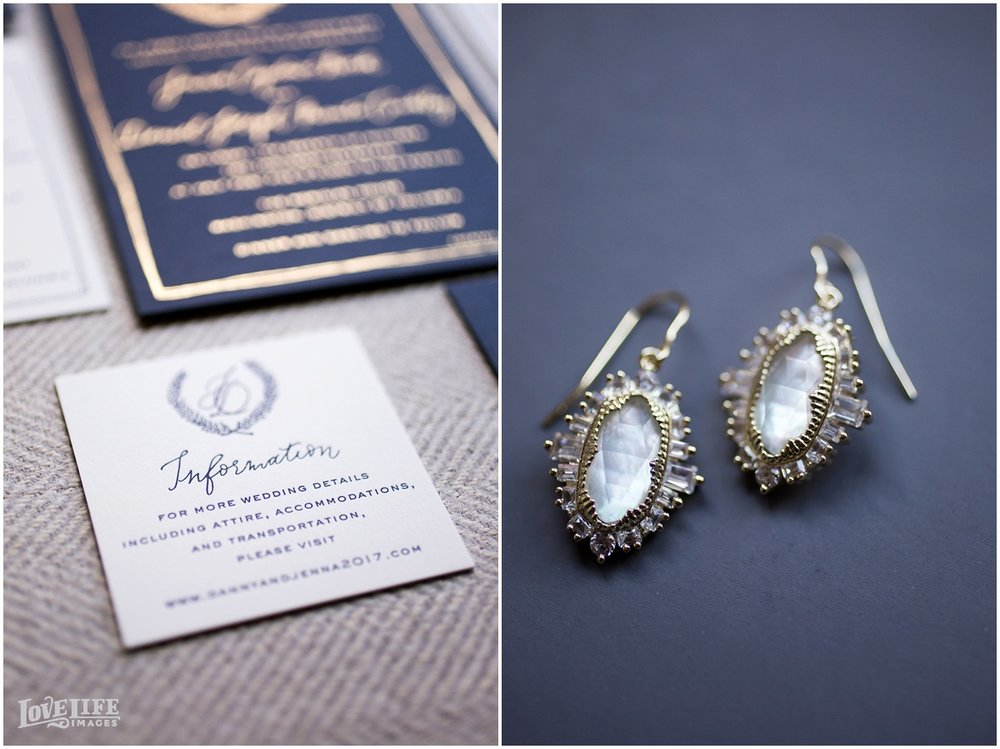 Meridian House Wedding letterpress invitation and wedding earrings.JPG