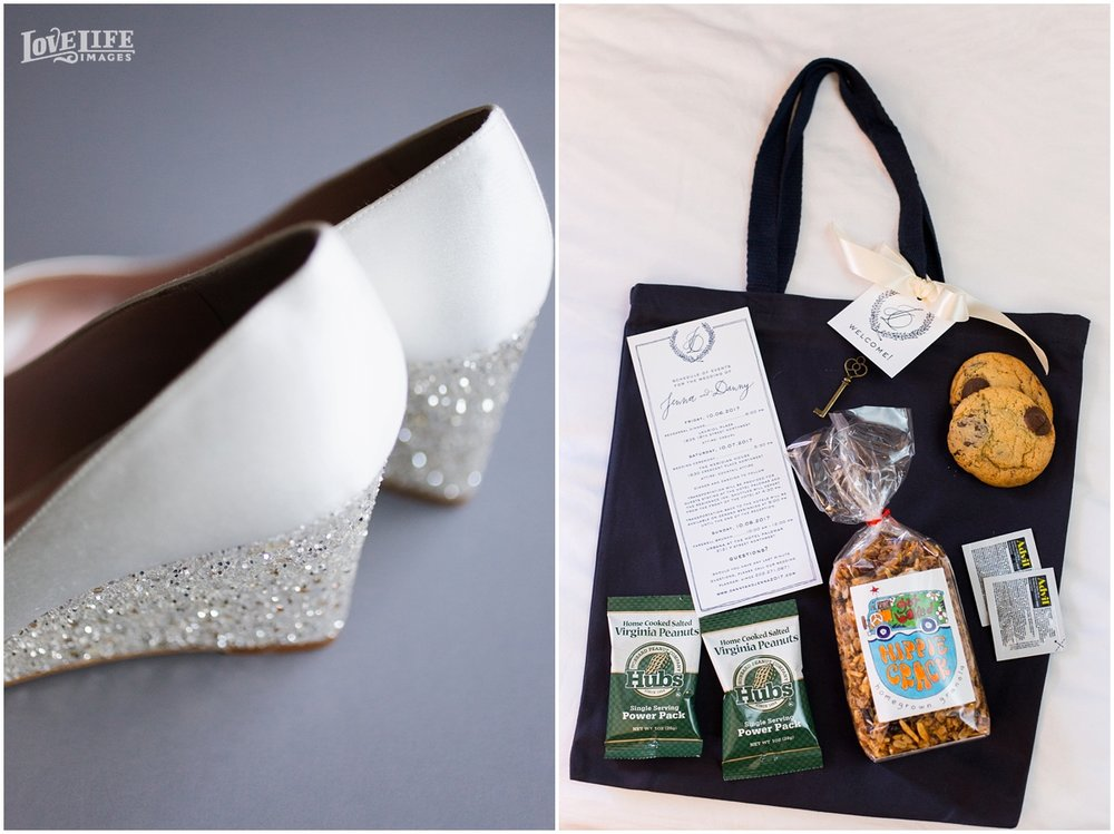 Meridian House Wedding Welcome bag and wedding shoes.JPG