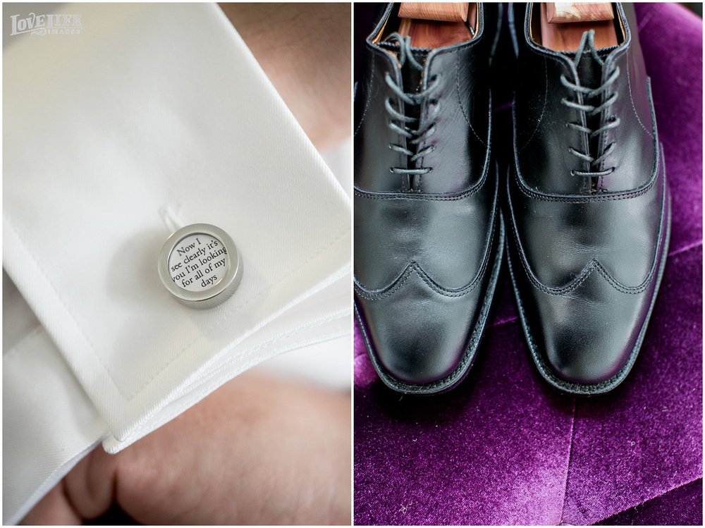 Meridian House Wedding Photo custom cufflinks and black wedding shoes.JPG