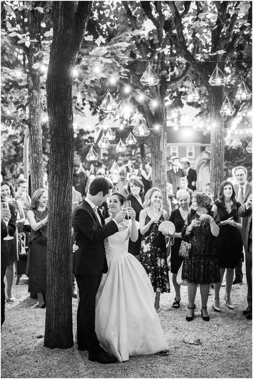 Meridian House Wedding outdoor toast with lanterns.JPG