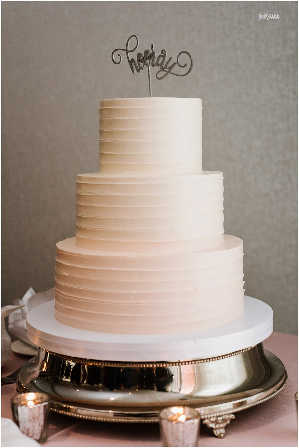 Lorien Hotel Brunch wedding cake with hooray topper.JPG