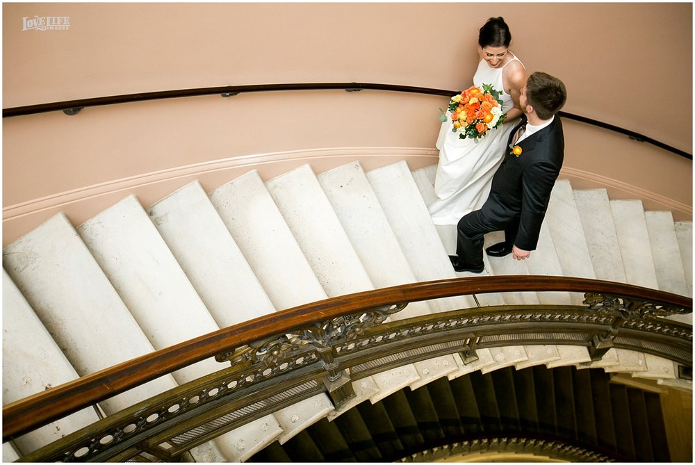DC Hotel Monaco fall wedding couple on stairs.JPG