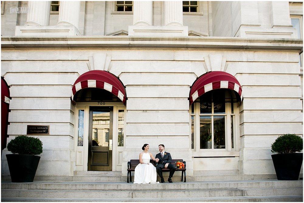 DC Hotel Monaco fall wedding couple outside hotel.JPG