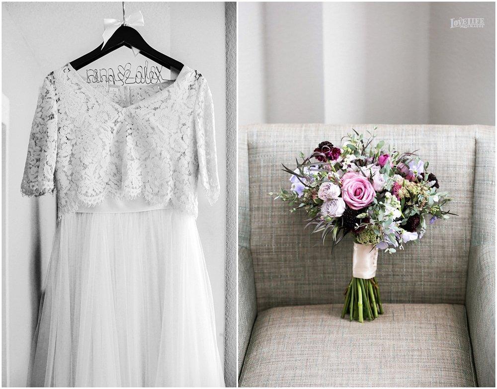 National Aquarium Baltimore Wedding dress and bridal bouquet.JPG