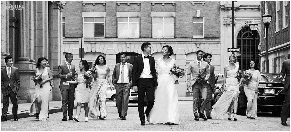 National Aquarium Baltimore Wedding bridal party in street.JPG