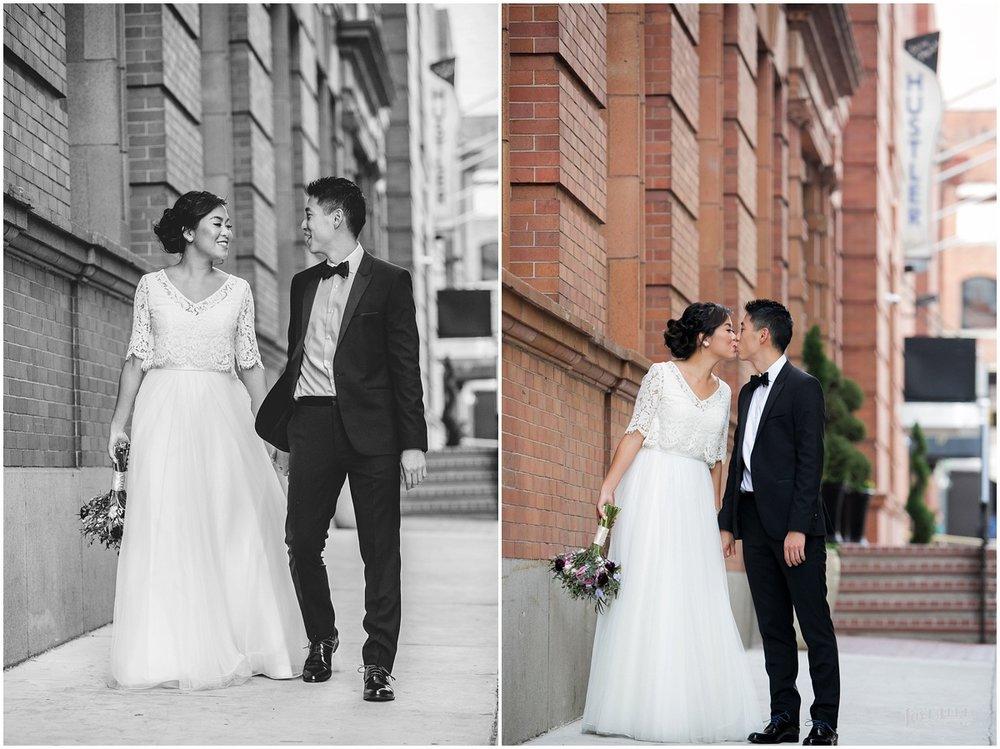 National Aquarium Baltimore Wedding couple portrait on the street.JPG