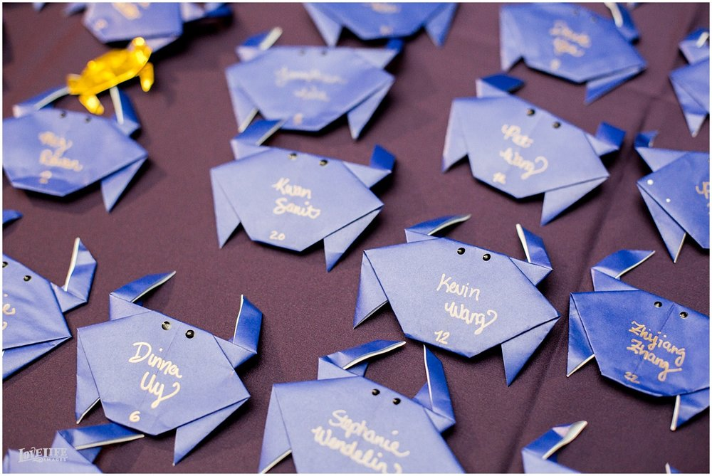 National Aquarium Baltimore Wedding origami crab escort cards.JPG