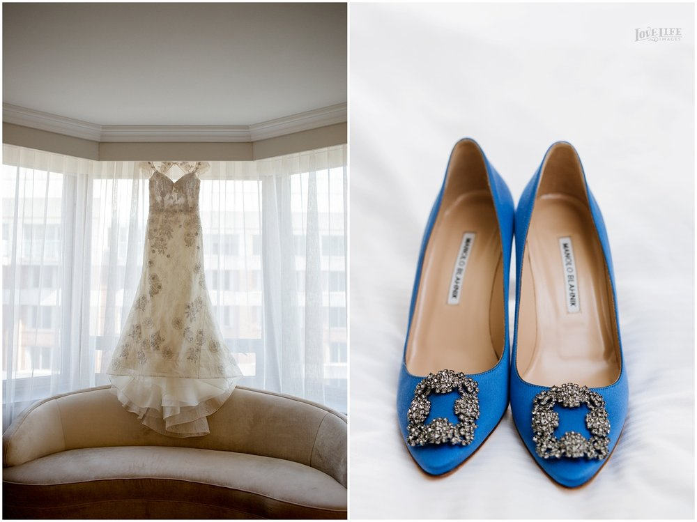 Dumbarton House wedding dress and blue shoes.JPG