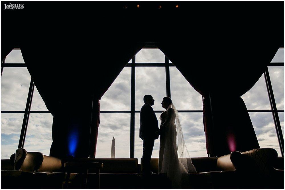 W Hotel DC wedding bride and groom silhouette portrait.jpg