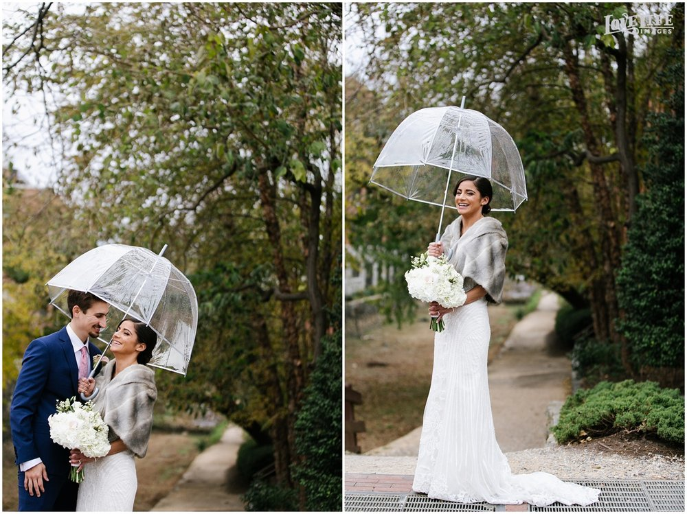 Pinstripes DC Wedding bridal portraits with clear umbrella.jpg