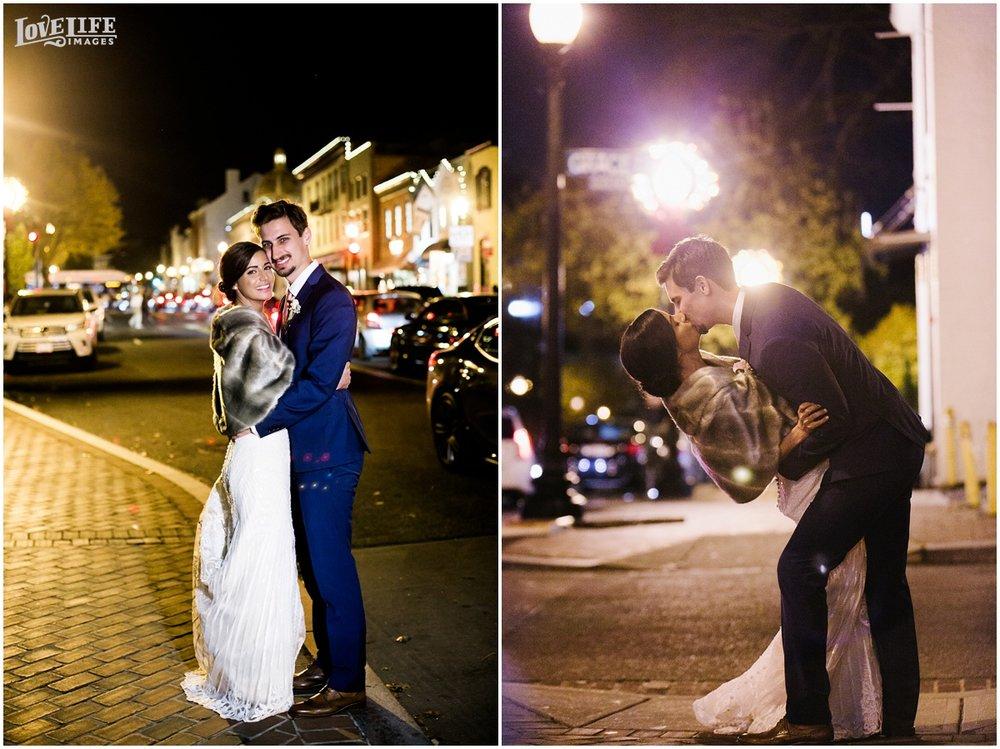 Pinstripes DC Wedding nighttime outdoor bride and groom portraits.jpg