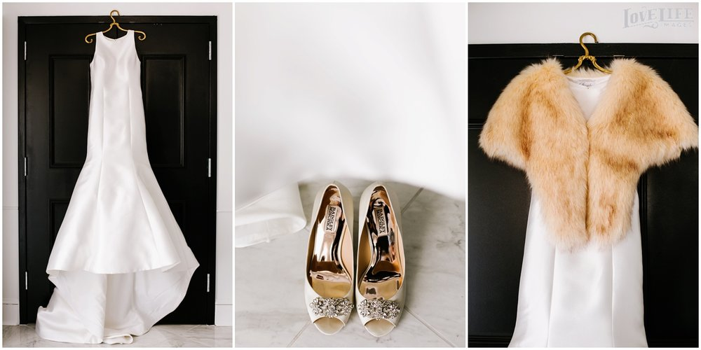 District Winery Winter Wedding gown with fur stole and bridal shoes.JPG
