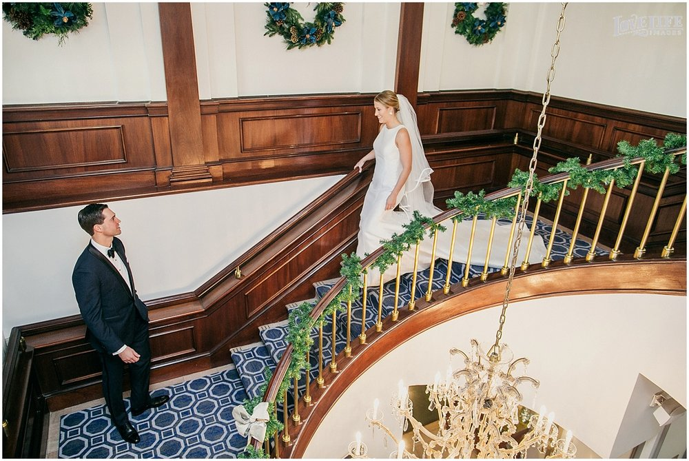 District Winery Winter Wedding staircase first look.JPG