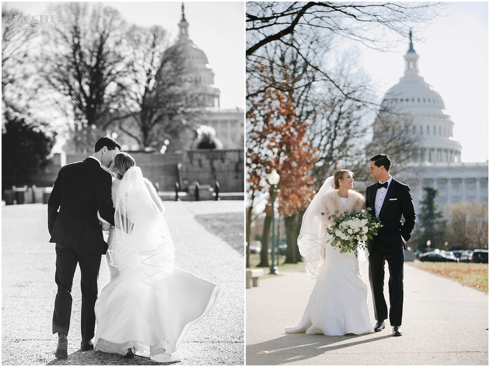District Winery Winter Wedding bride and groom in front of capitol building.JPG
