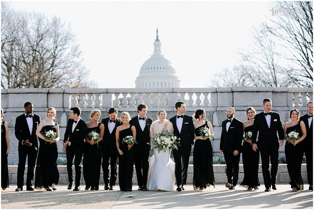 District Winery Winter Wedding bridal party in front of capitol building.JPG