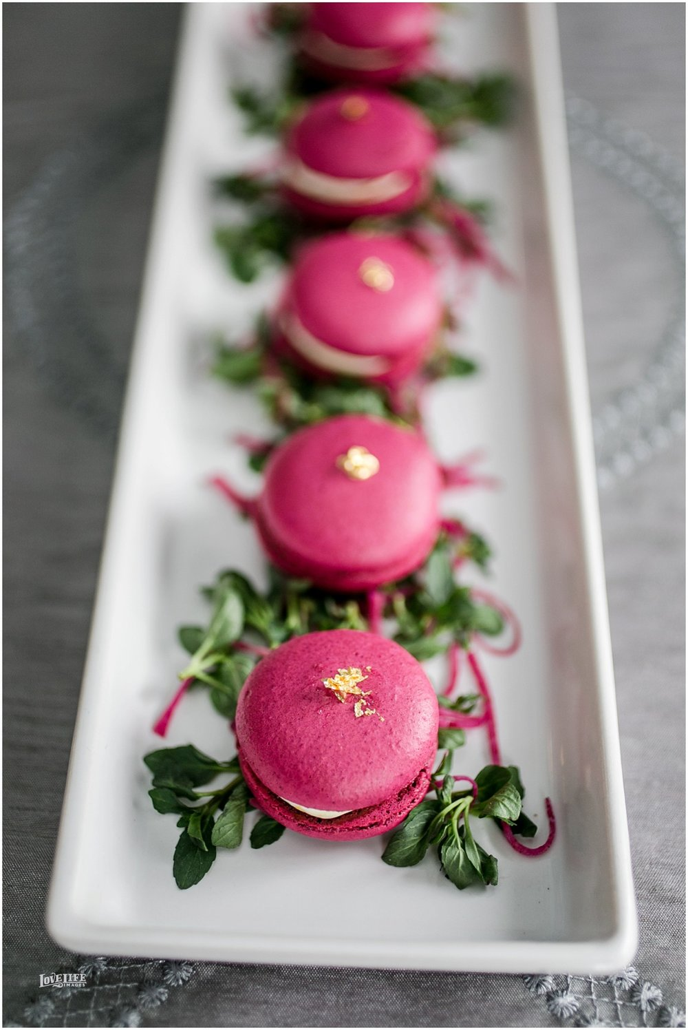 Mini Savory Red Beet and Chèvre Macaron  Goat Cheese|Gold Leaf Fleck