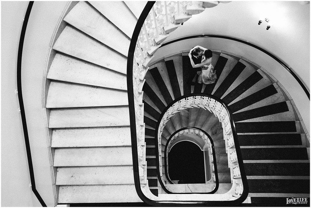 Hotel Monaco DC Wedding staircase portrait.jpg