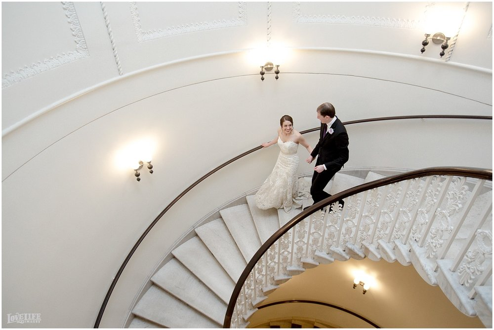 Hotel Monaco DC Wedding couple portrait on stairs.jpg